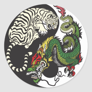 green dragon and white tiger yin yang symbol stickers