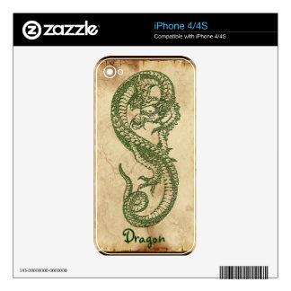 Green Dragon Asian Fantasy Art iPhone 4 Skin