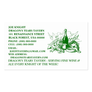 GREEN DRAGON BUSINESS CARDS ~ RENAISSANCE FAIRE!