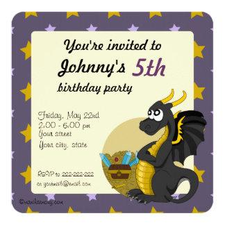 Green dragon cartoon birthday print invitations