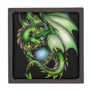 Green Dragon Circle.jpeg Premium Keepsake Box