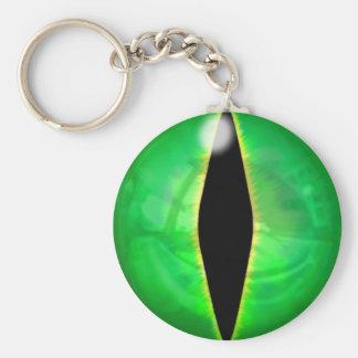 Green Dragon Eye Basic Round Button Keychain