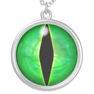 Green Dragon Eye Round Pendant Necklace
