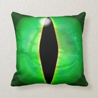 Green Dragon Eye Throw Pillows