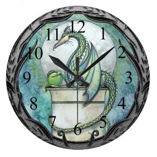 Green Dragon Fantasy Art Wall Clock