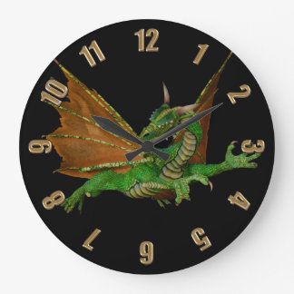 Green Dragon Fantasy Artwork Wallclocks