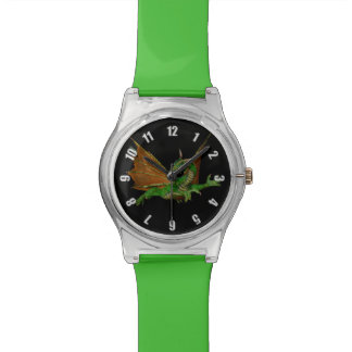 Green Dragon Fantasy Artwork Wristwatch