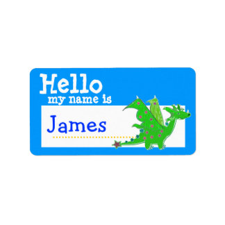 Green Dragon Hello My Name is Badge Blue Address Label