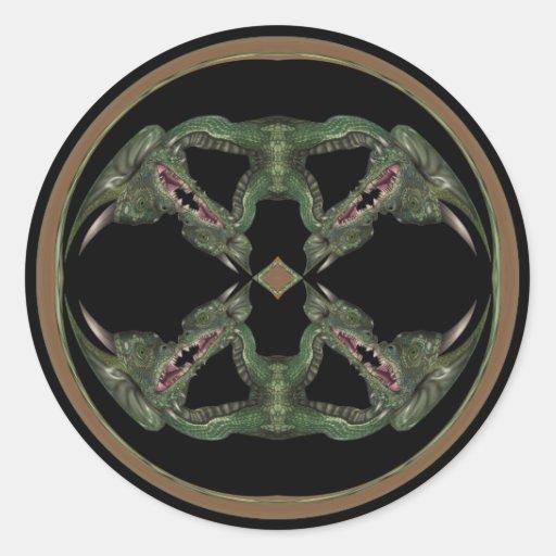 Green Dragon Kaleidoscope Classic Round Sticker