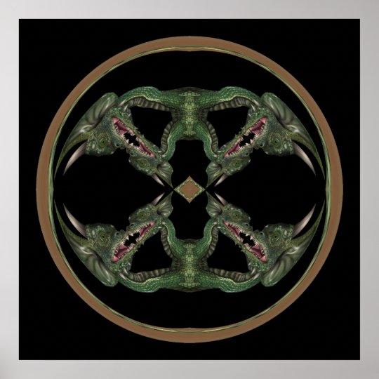 Green Dragon Kaleidoscope Poster