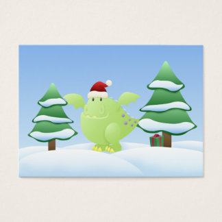 Green Dragon Monster Holiday Scene Gift Tags