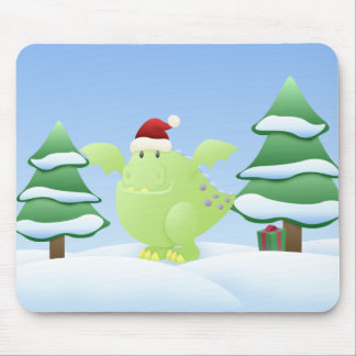 Green Dragon Monster Holiday Scene Mouse Pad