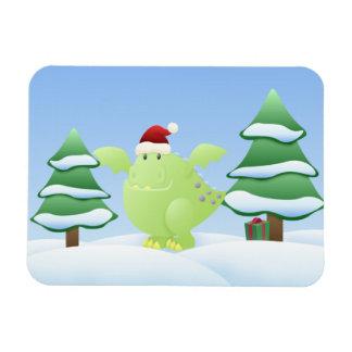 Green Dragon Monster Holiday Scene Rectangular Photo Magnet