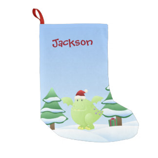 Green Dragon Monster Holiday Scene Small Christmas Stocking