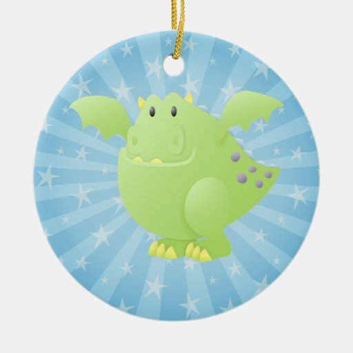 Green Dragon Monster Double-Sided Ceramic Round Christmas Ornament