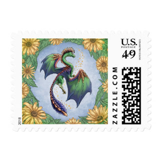 Green Dragon of Summer Nature Fantasy Art Postage