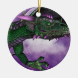 Green Dragon Double-Sided Ceramic Round Christmas Ornament