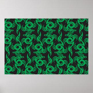 Green Dragon Pattern Poster