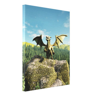 Green Dragon Perched on a Rock Canvas Print