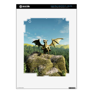 Green Dragon Perched on a Rock iPad 3 Decal
