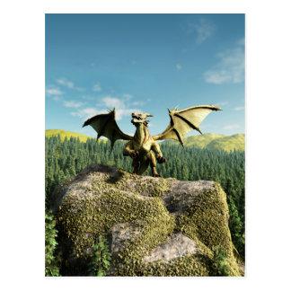 Green Dragon Perched on a Rock Postcard