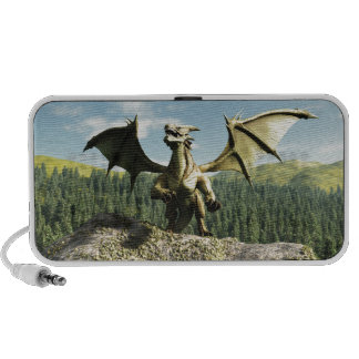 Green Dragon Perched on a Rock Travel Speakers