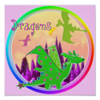 Green Dragon Rainbow Colors Border Kid's Poster