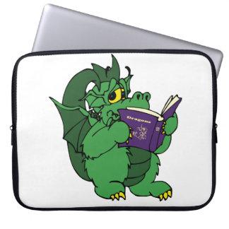 Green Dragon Reading Purple Book Laptop Sleeve