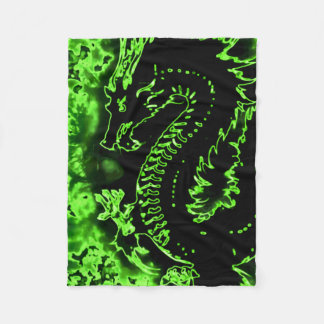 Green Dragon Samurai Spirit Blanket