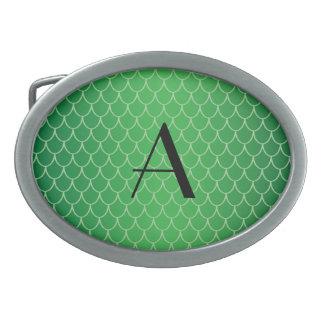 Green dragon scales monogram oval belt buckles