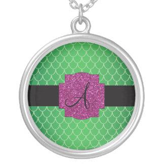 Green dragon scales monogram round pendant necklace