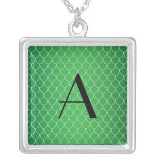 Green dragon scales monogram square pendant necklace