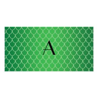 Green dragon scales monogram photo card