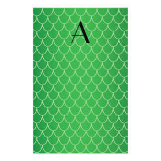 Green dragon scales monogram stationery paper