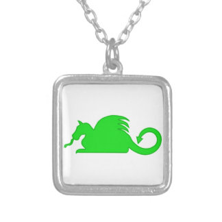 Green Dragon Silhouette Silver Plated Necklace