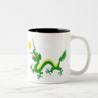 Green dragon Two-Tone coffee mug