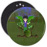 Green Dragon Winged Drummer Boy Faerie Button