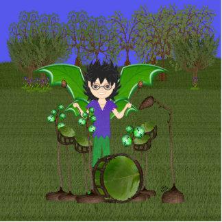 Green Dragon Winged Drummer Boy Faerie Cutout