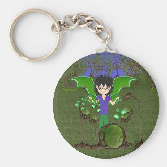Green Dragon Winged Drummer Boy Faerie Keychain
