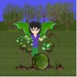 Green Dragon Winged Drummer Boy Faerie Photo Sculpture