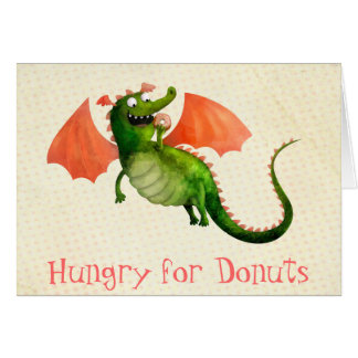 Green Dragon with Donut Card