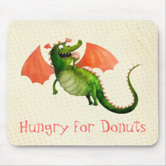 Green Dragon with Donut Mouse Pad