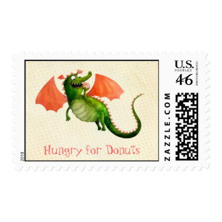Green Dragon with Donut Postage Stamp
