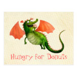 Green Dragon with Donut Postcard