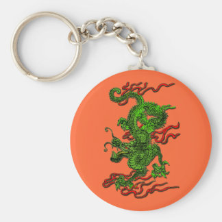 Green Dragon with Red Ribbons Apparel & Gifts Keychain