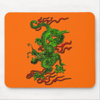 Green Dragon with Red Ribbons Apparel & Gifts Mouse Pad