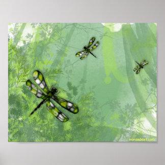 Green Dragonflies Print