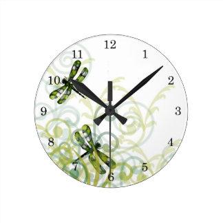 Green Dragonflies Wall Clock