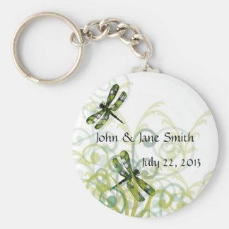 Green Dragonflies Wedding Favor Keychain