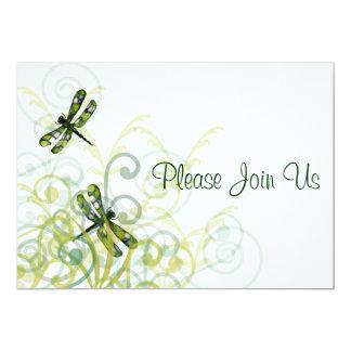 Green Dragonflies  Wedding Invitation